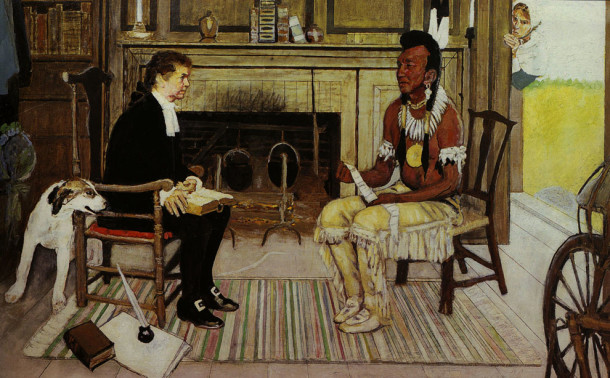 Rockwell's unfinished homage to the missionary Sargeant, alas not linked to Indianapolis' history.