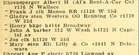 The 1926 Indianapolis City Directory lists Albert Ehrensperger's address as 116 N. Wallace. There is no listing for either Edith or Elizabeth Ehrensperger.