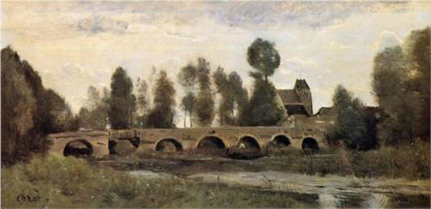 Oil painting of the Bridge at Grez-sur-Loing by Jean-Baptiste Camille Corot (1850-60) (Currier Art Gallery, New Hampshire)