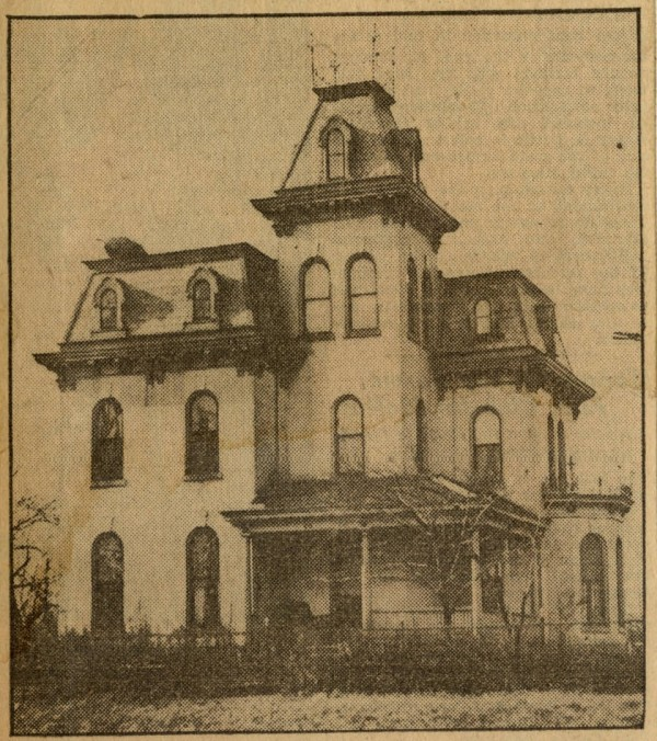 This 1932 photograph--the earliest known photo of the Horner-Terrill home--ran with an Agnes Hanna McCulloch article published in the Indianapolis Star. The photo shows the home with its original tower roof, as well as the front porch. (The porch was added around 1900, and was removed circa 1990.)