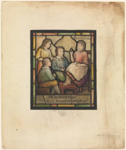 A seemingly related piece, also by Tiffany, hangs at the Metropolitan Museum of Art. It is a design for a memorial window of Alice Moulton Drew.