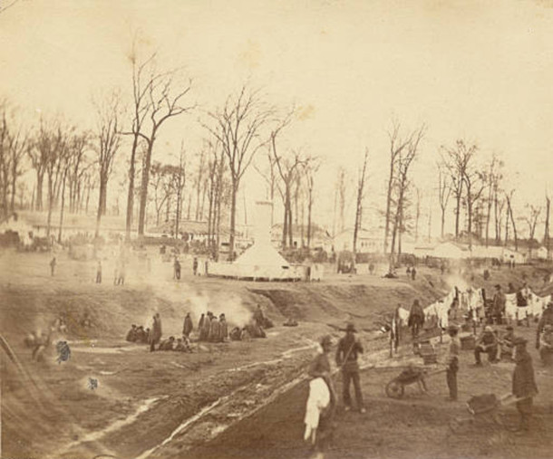 In 1861, the State Fairgrounds were converted into a Union Army encampment called Camp Morton (Bass Photo Company Collection, courtesy of Indiana Historical Society)