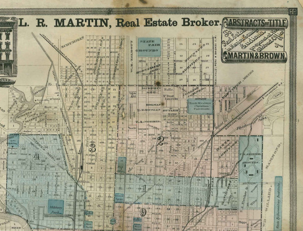 1870 Martin map of the north side area shows the southern portion of the State Fair Grounds (map courtesy of Indina State Library)