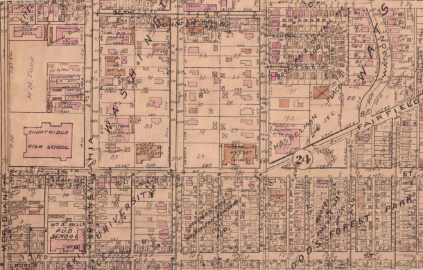 1929 Baist Atlas Map shows the the Jordan College of Music in the former White residence at 3411 N. Pennsylvania Street (map courtesy of IUPUI Digital Archives) CLICK TO ENLARGE