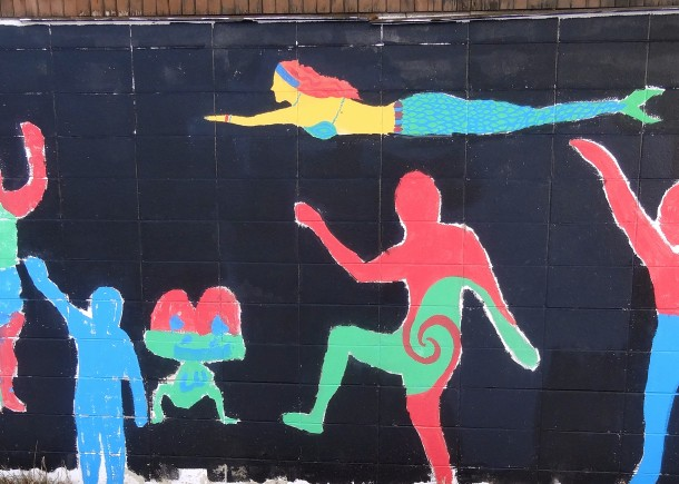 The mural on the Ellenberger Park pool house, dated 2009