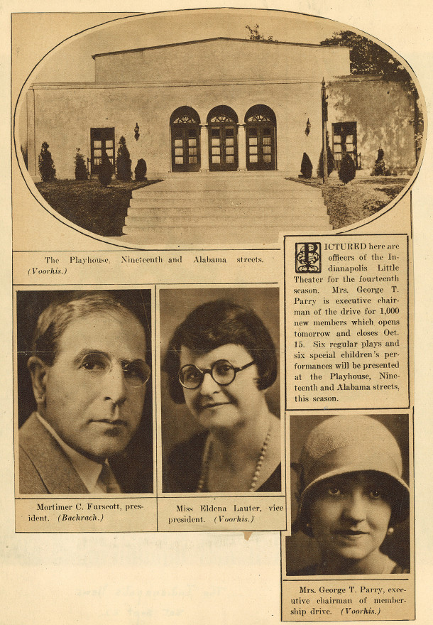 Page from a scrapbook chronicling the history of the Booth Tarkington Civic Theatre (scan courtesy of Kurt Pantzer)