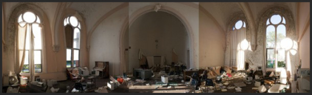 The cluttered third floor chapel in 2008, four years after Weyerbacher was shuttered. Photo: Ryan Hamlett