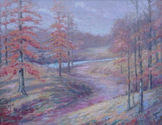 A painting of Ellenberger Park by H.F. Pressnall, 1931