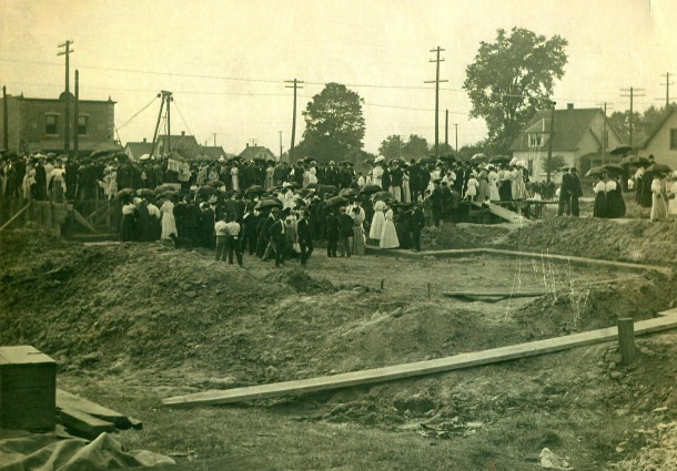 The cornerstone for St. Catherine of Siena Church was laid on Sunday, July 25, 1909 (photo courtesy of Louis Mahern Jr.)