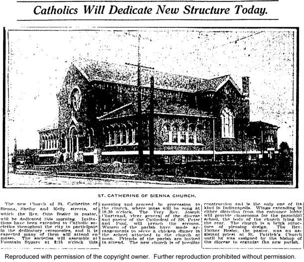 May 22, 1910 article about the dedication of St. Catherine of Siena Church (Indianapolis Star article courtesy of Indianapolis Public Library)