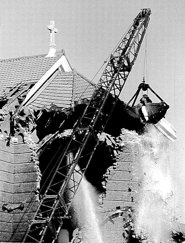 St. Catherine of Siena falls to the wrecking ball (photo courtesy of Catholic Archdiocese of Indianapolis)