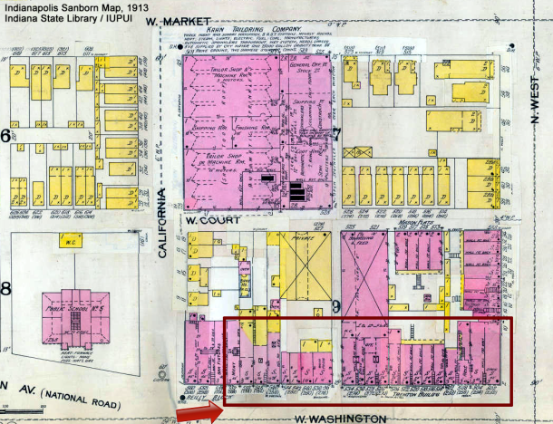 Sanborn Fire Insurance Map, updated to 1913 (Courtesy of the Indiana State Library / IUPUI University Library)