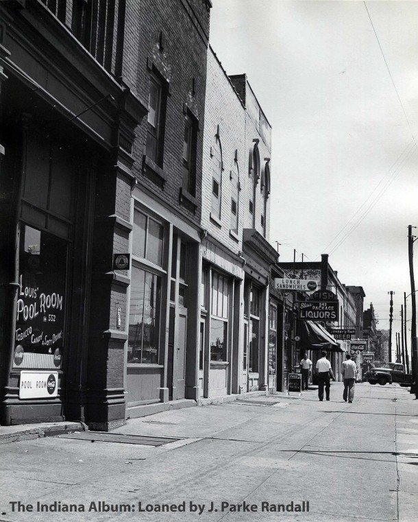 This 1953 view shows the 500 block of W. Washington Street as it appeared in 1953. (Courtesy of The Indiana Album: Photographed by J. Parke Randall)
