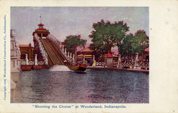 The Chute-the-Chutes ride at Wonderland Amusement Park. The park's famous elephant bathed in the lake.