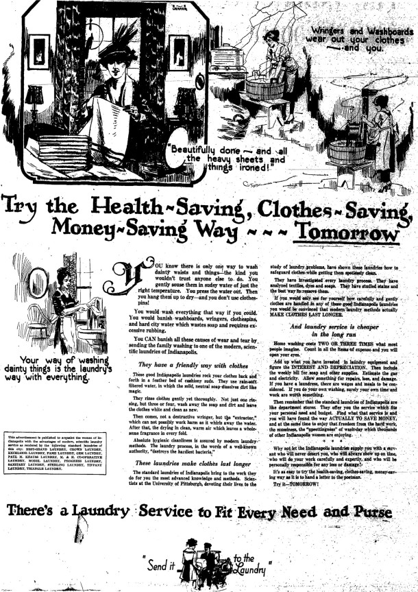 Advertisement by Tiffany Laundry and other laundries that appeared in The Indianapolis Star on May 28, 1922 (ad courtesy of NewspaperArchives.com