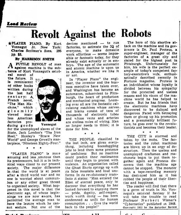 1952 book review of Player Piano by Kurt Vonnegut appeared in the Berkshire Eagle (clipping courtesy of Newspapers.com)