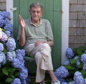 Kurt Vonnegut at the Barnstable, Massachusetts home of his daughter Edie (photo courtesy of Edie Vonnegut and Yankee Maazine)