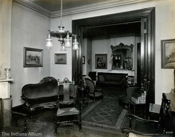 Interior of the Volney T. and Caroline (Macy) Malott house at 536 and 558 N. Delaware Street (Courtesy of the Indiana Album: Loaned by Joan Hostetler)