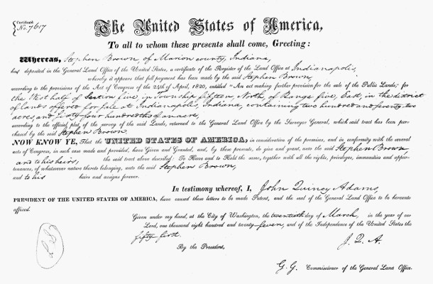 1827 Land Patent from the United States to Stephen Brown [CLICK TO ENLARGE ]