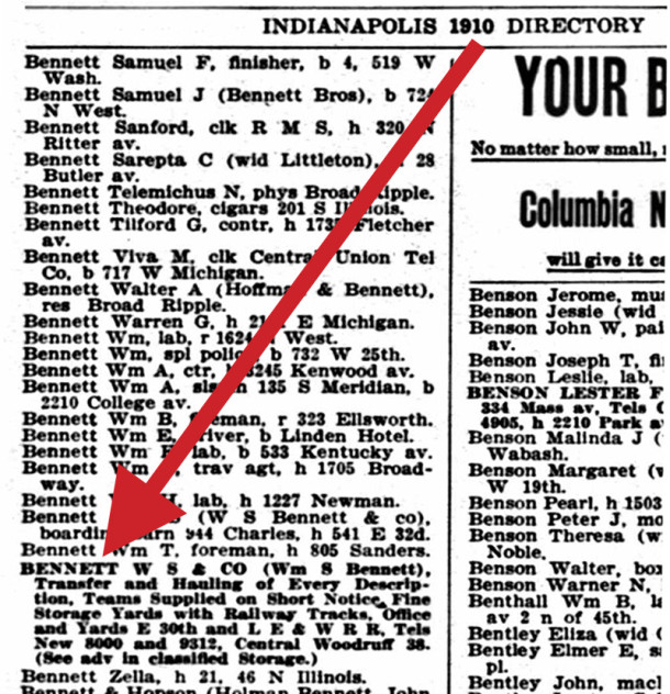1910 Indianapolis City Directory lists W. S. Bennett Co. at the location that would eventually be known as 2906 Columbia Avenue (scan courtesy of Ancestry.com)