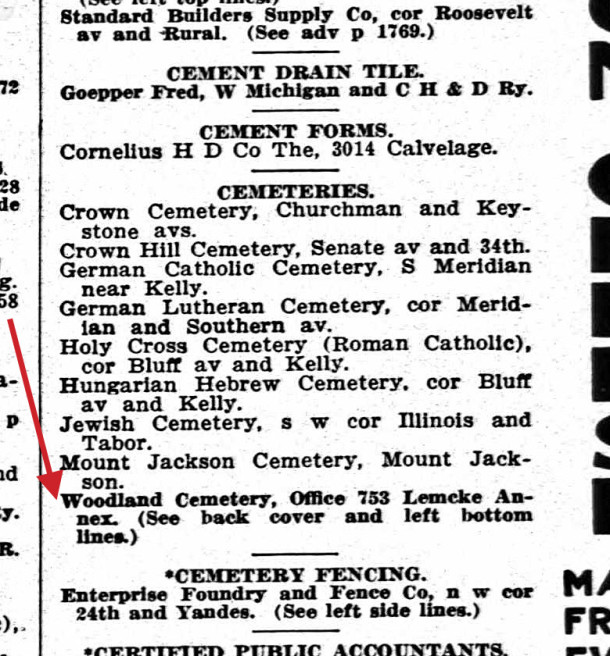 1913 Indianapolis City Directory included Woodland Cemetery in its list (courtesy of IUPUI Digital Library)