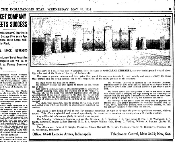 1914 Indianapolis Star advertisement offering an investment in the cemetery (courtesy of NewspaperArchive.com)