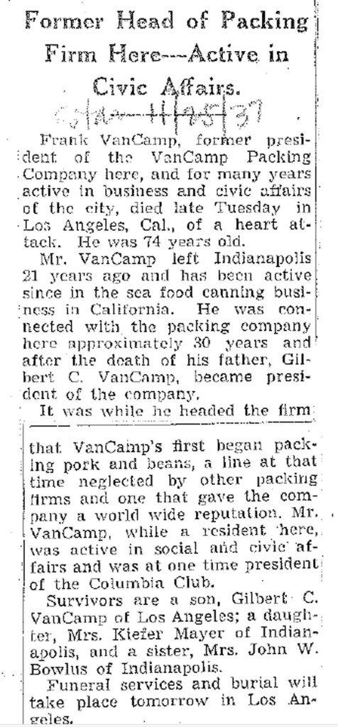 ( Indianapolis Star obituary courtesy of the Indianapolis Public Library)