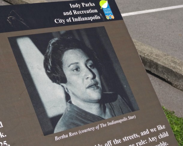 A plaque near the baseball fields tells the story of Bertha Ross.