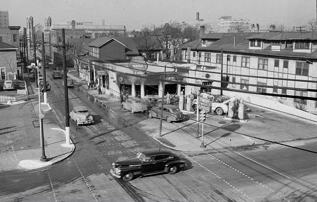 Indianapolis Then and Now: Tansy Motor Service Station, 802 N. Delaware Street
