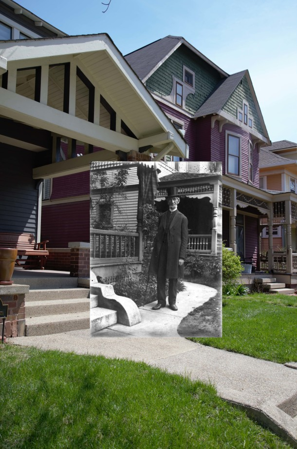 Daniel Lyon posing in front of 1945 N. Pennsylvania Street in ca. 1908, juxtaposed with the 2014 view (Courtesy of the Indiana Historical Society, Mary Lyon Taylor Collection, #369)