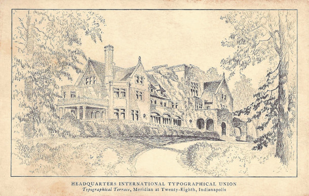 """The International Typographical Union christened their headquarters """"Typographical Terrace"""" (postcard image courtesy of Evan Finch"""