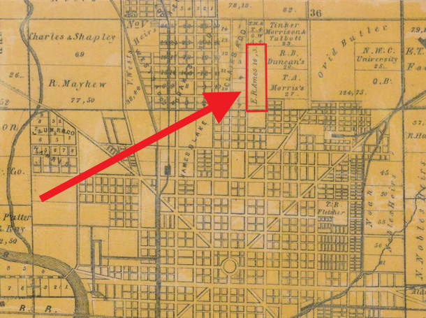 1855 Condit, Wright, and Hayden map shows the property owner as E. R. Ames (courtesy of the Indiana State Library)