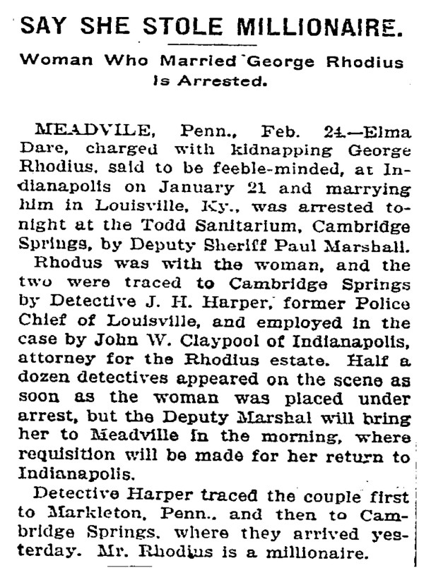 Newspaper article appeared in The New York Times on February 25, 1907 (scan courtesy of newspapers.com)