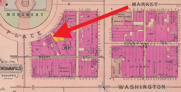 Maria Rhodius was the proprietor of the Circle Park Hotel in the southeast quadrant of Monument Circle (1908 Sanborn map courtesy of IU Digital Archives)