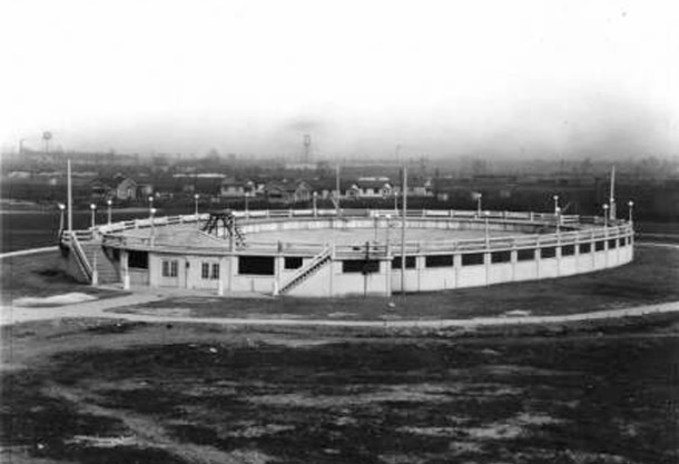 The original Rhodius Park swimming pool was an oval shape and built above ground (Bass Photo Co. image courtesy of Indiana Historical Society)