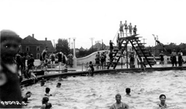 Original Rhodius Park swimmiing pool was built in 1924 (Bass Photo Co. image courtesy of Indiana Historical Society)