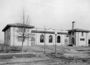 The original Rhodius Park community building at 1001 S. Belmont Avenue is a parking lot today  (Bass Photo Co. image courtesy of Indiana Historical Society)
