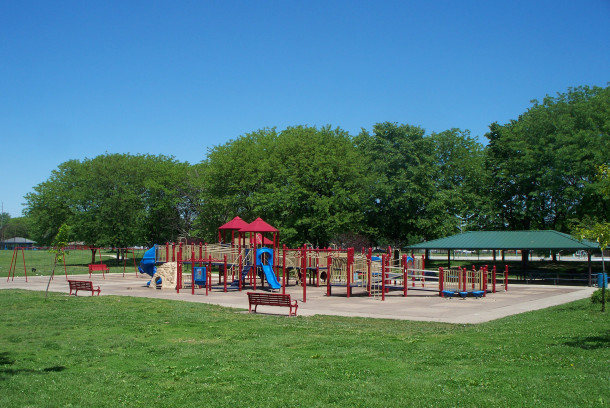 Rhodius Park playground has a variety of recreational equipment (photo by Sharon Butsch Freeland)