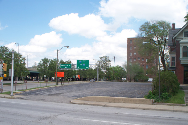The land where the Ovid Butler Jameson House once stood is now a parking lot adjacent to the 11th Street on-ramp to I-65 (photo by Sharon Butsch Freeland)