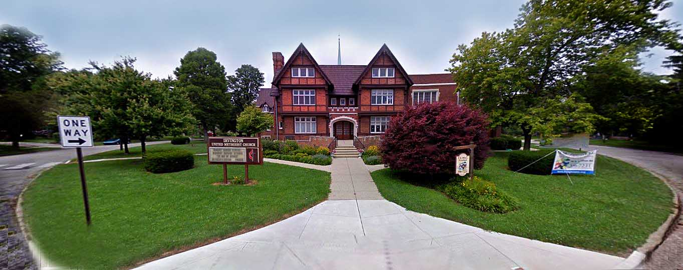 Indianapolis Then and Now: Jacob Dorsey Forrest House / Irvington United Methodist Church, 30 N. Audubon Road