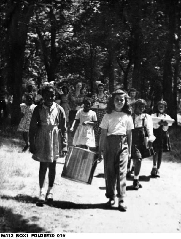 Young girls on a picnic circa 1946.  When you don't have a picnic basket, a stock pot will work just fine!  Image: courtesy the Indiana Historical Society