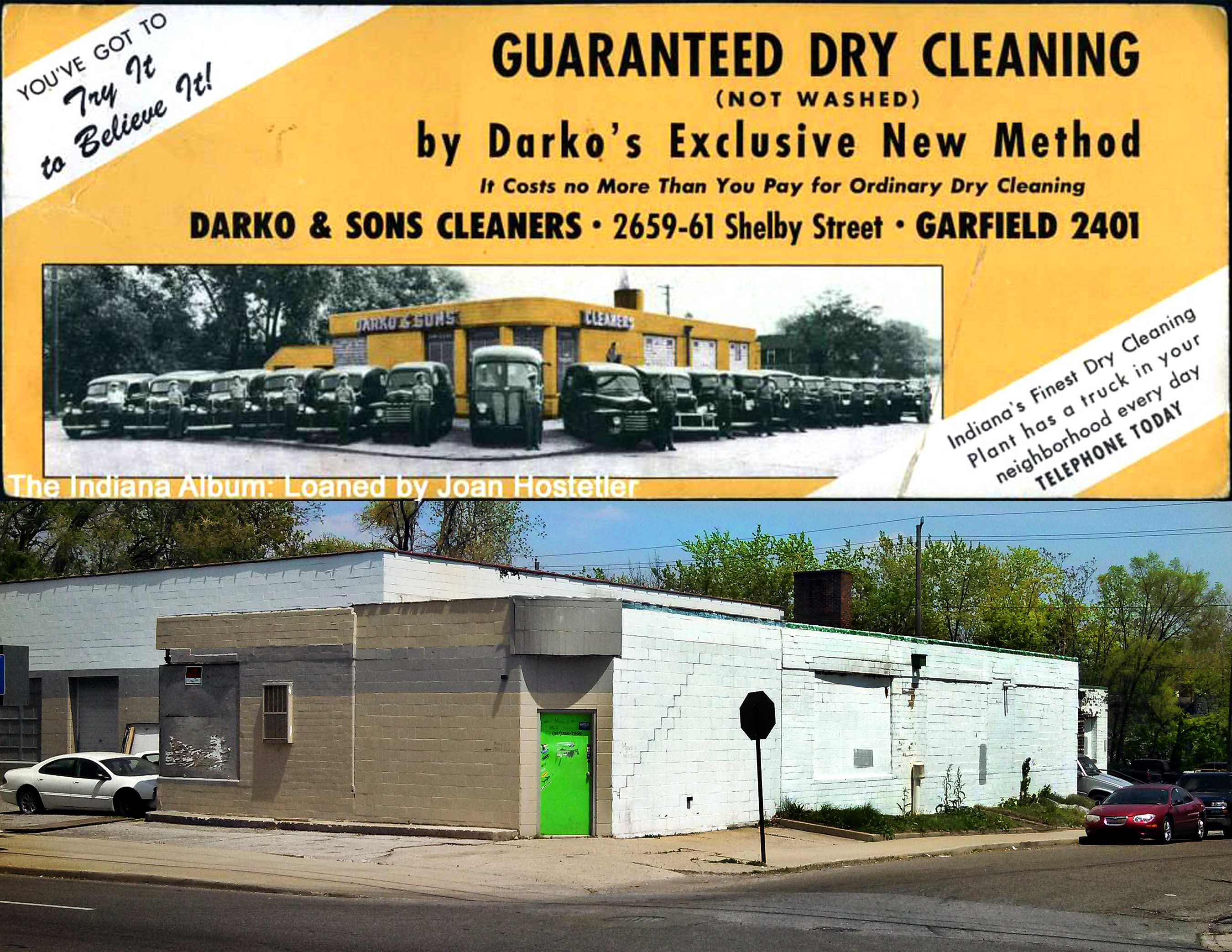 Indianapolis Then and Now: Darko and Sons Cleaners, 2659-61 Shelby Street
