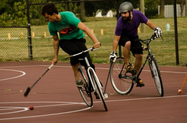Members of Indy Bike Polo meet at Arsenal Park three times each week. Photo courtesy of IndyCog.com