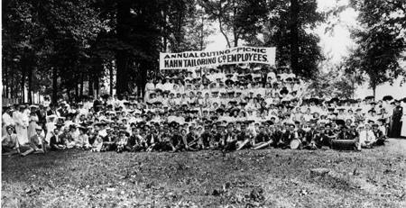 A picnic for the employees of Kahn Tailoring, circa 1900.  Image: courtesy Bass Photo Collection, Indiana Historical Society.