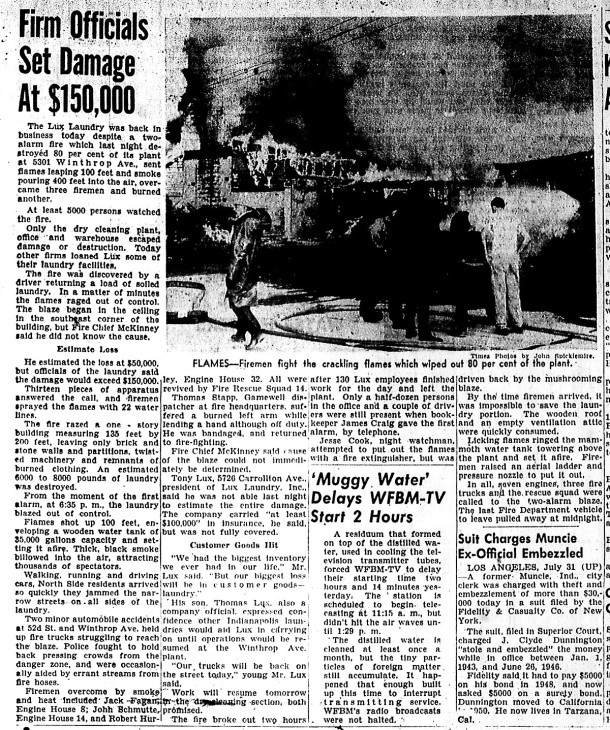 The Indianapolis Times reported on the blaze the following afternoon (scan courtesy of the Indiana State Library) CLICK TO ENLARGE