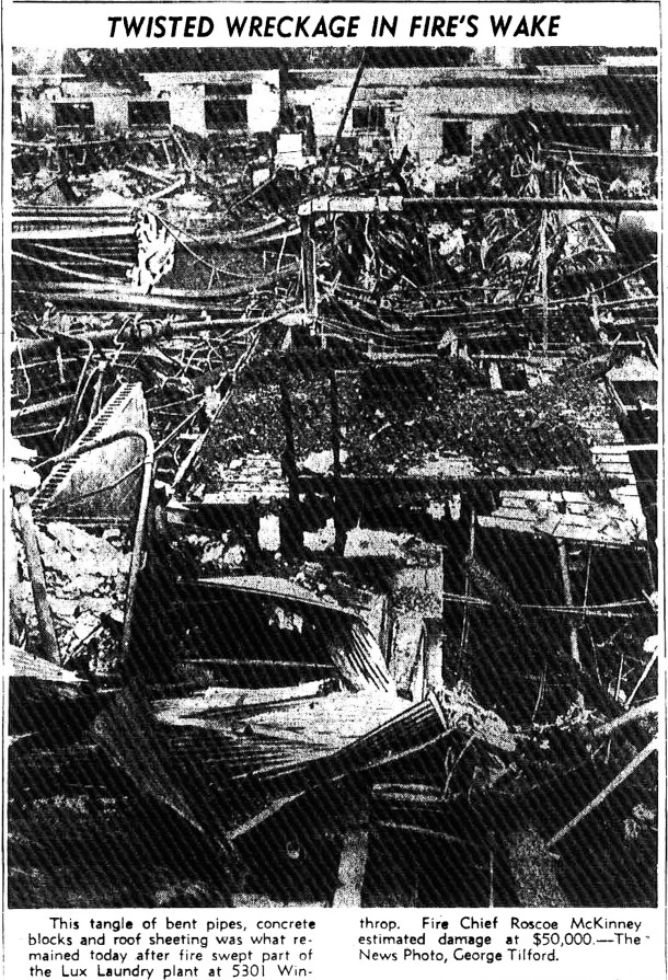 Photo in The Indianapolis News shows the devastation caused by the fire (image courtesy of the Indianapolis Public Library)