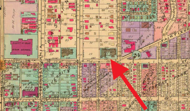 1941 Baist Atlas map shows the church and surrounding homes and businesses (map courtesy of IUPUI Digital Archives)