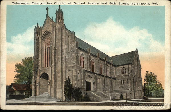 1923 postcard of Tabernacle Presbyterian Church's new sanctuary, with the Sunday School building to the west of it (image courtesy of CardCow.com)