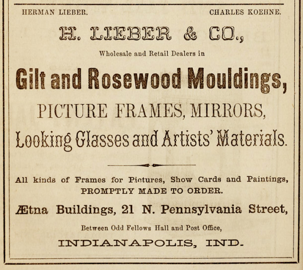 The 1865 Indianapolis City Directory contained an ad for the H. Lieber Co. (image courtesy of IUPUI Digital Archives)