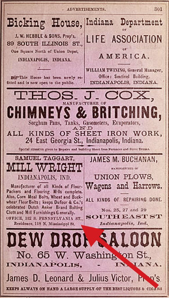 Indianapolis City Directory ad for Samuel Taggart (scan courtesy of IUPUI Digital Archives)
